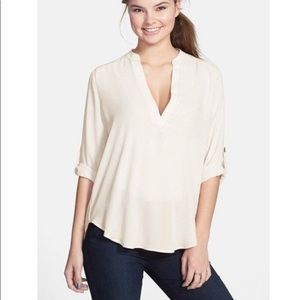 New Lush Roll Tab Woven Shirt V Neck White Small